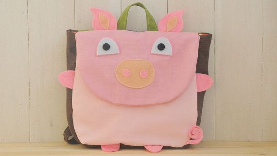 "Backpack ""Piggy"" (Beautiful colors for this pig shape backpack, 100% cotton, adjustable straps, easy velcro closure and lining inside)"