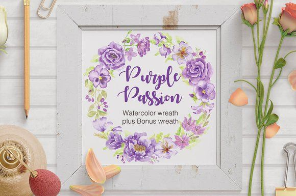 Watercolor wreath of purple flowers by Lolly's Lane Shoppe on @creativemarket