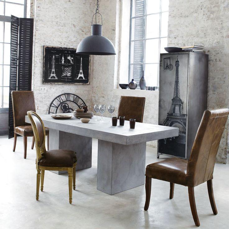 Tavolo grigio chiaro in magnesia effetto cemento l 200 cm mineral maisons du monde fine - Tavolo maison du monde ...