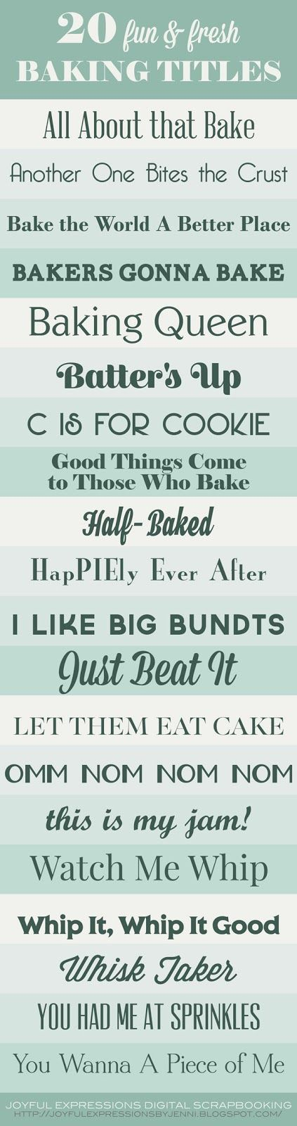 20 Fun & Fresh Baking Themed Scrapbooking Page Titles from Joyful Expressions