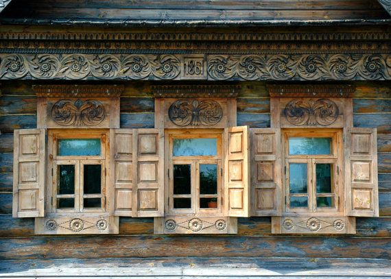 Decorative Russian Window Photography. Woodwork.