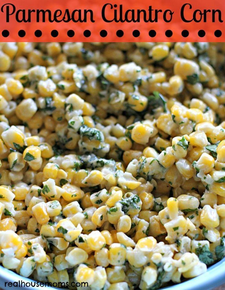 Parmesan Cilantro Corn #grilling #sidedish #freezercooking