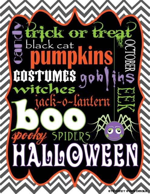 Eye Candy Event Details: {FREE Subway Art} Chevron Halloween Print Download