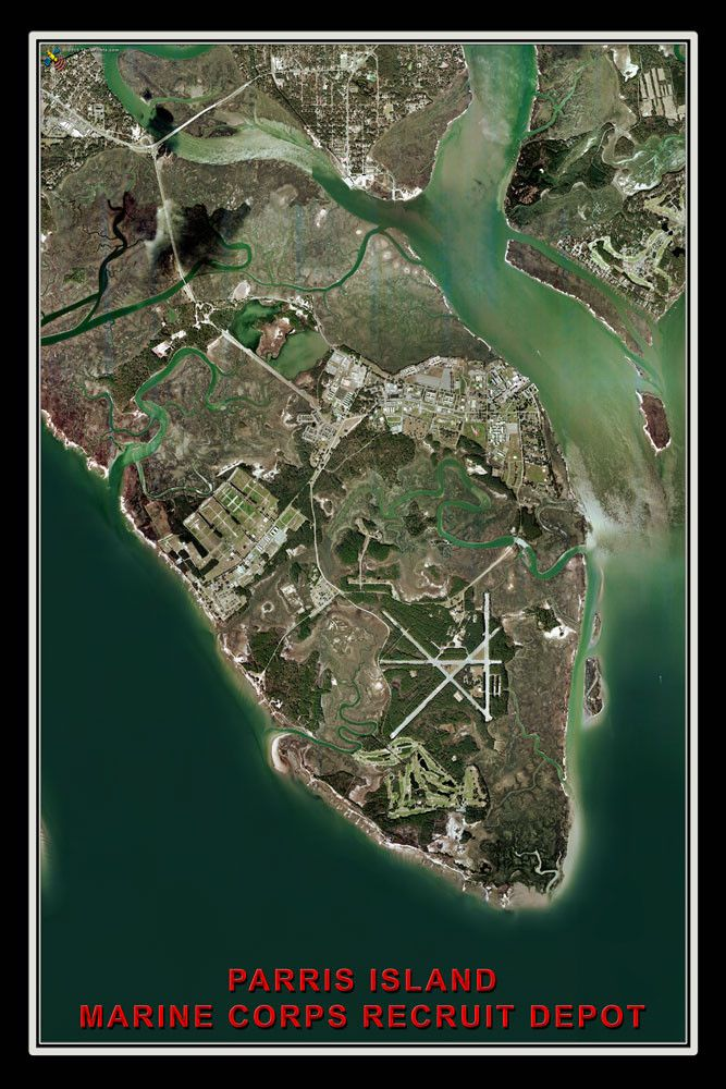 Parris Island Marine Recruit Depot South Carolina From Space Satellite Art Poster