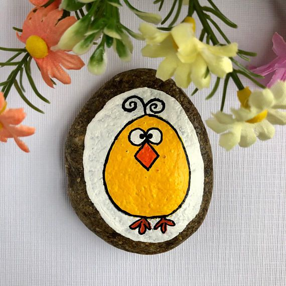 Easter Chick Painted Rock Easter Chicken Painted Stone