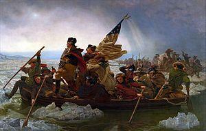 American War of Independence  1775 bis 1783. | George Washington überquert am 26. Dezember 1776 den Delaware River (Gemälde von Emanuel Leutze, 1851). - Wiki d - 20160617,1853
