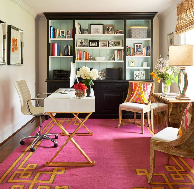 Blue And White Office: Home Office, Pink Rug, White And Gold Desk, Wood Chairs
