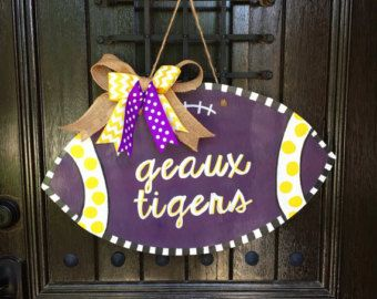 Items similar to Georgia Bulldogs Inspired Football Door Hanger, Door Decoration,  Fall Wreath, Wooden Football on Etsy