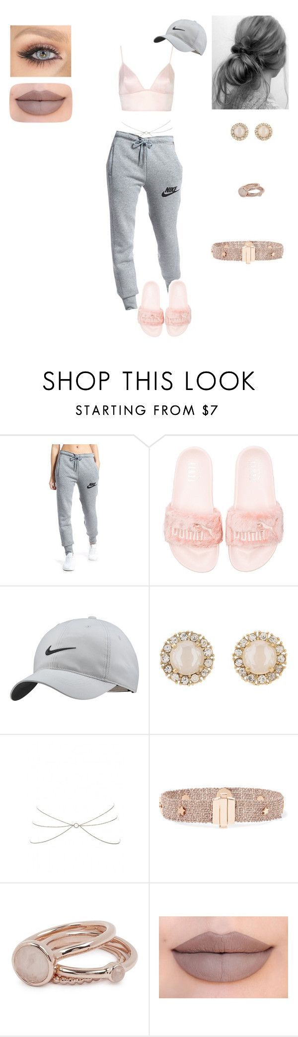 """Puma x Rihanna Fenty Slippers"" by amber-knotts ❤ liked on Polyvore featuring NIKE, Puma, Kate Spade, Carolina Bucci, Lola Rose, Jeffree Star, Rihanna, puma and nike"