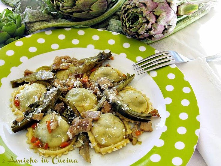 Ravioli ai Carciofi con Ragù Bianco di Coniglio | 2 Amiche in Cucina