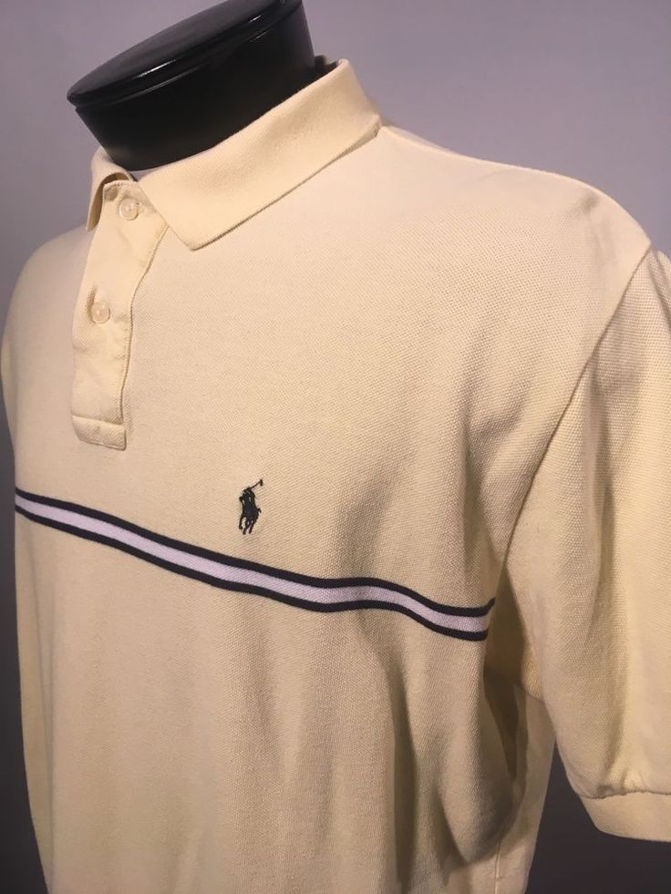 Polo Ralph Lauren Men's Shirt Rugby Size Large L Yellow Chest Stripe | Clothing, Shoes & Accessories, Men's Clothing, Casual Shirts | eBay!