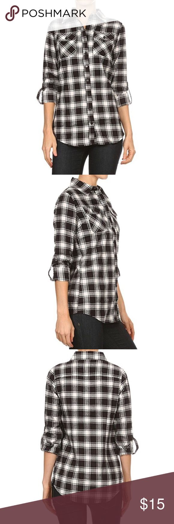 Long Sleeve Flannel Plaid Button Down Shirt Plaid button down shirt with roll up sleeves, collar, buttoned chest pockets, and rounded hem. 100% Cotton Imported Comfortable lightweight flannel plaid shirt Tabs to hold rolled up sleeve and hem. Please refer to our size chart provided in the last product images for further details. Tops Button Down Shirts