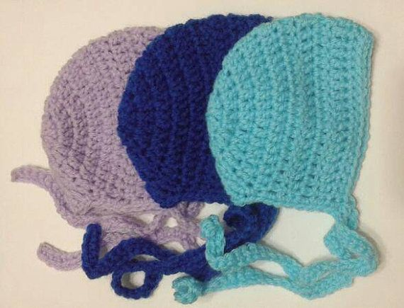 Newborn Baby Boy and Girl Crochet Bonnet Photography Prop or Baby Shower Gift