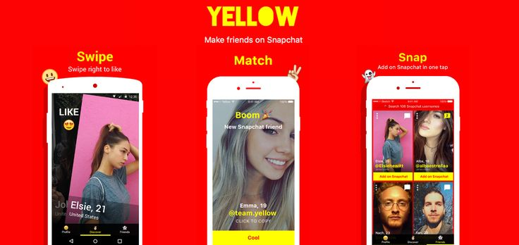 Yellow, Find New Snapchat finds the same way you would on Tinder. #yellow #Snapchat #friends +Downloadsource.net