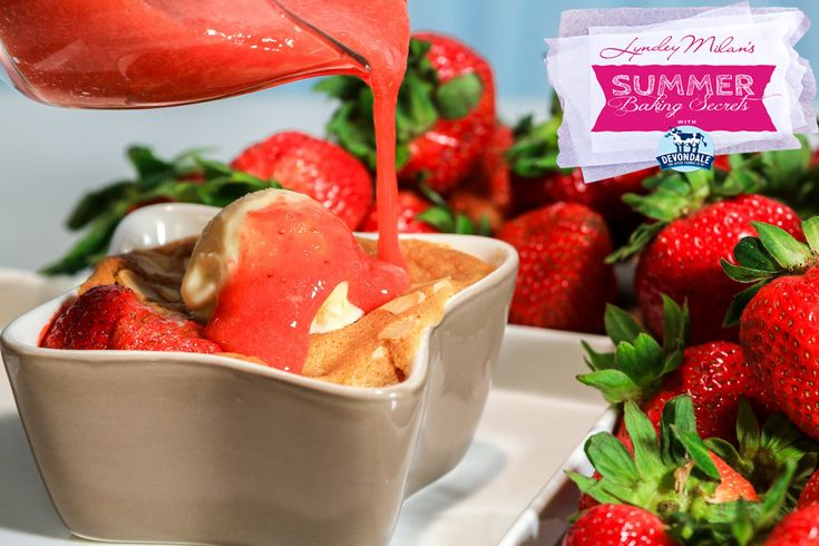 lyndeymilan.com   –  Strawberry sponge puddings with strawberry sauce