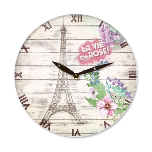 Ceas de perete cu turnul Eiffel, simbolul Frantei si al Parisului si textul La Vie en Rose (Viata in roz)