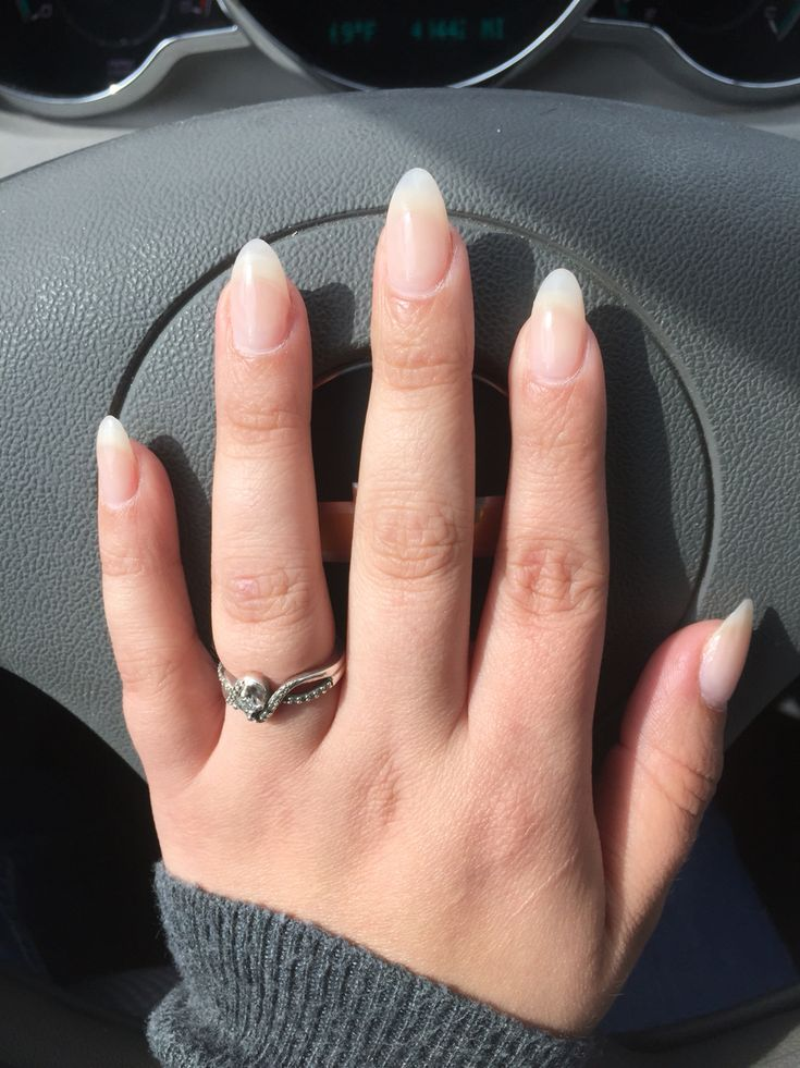 Almond shape natural look OPI bubble bath nail polish medium short almond