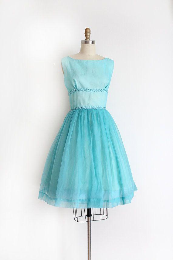 vintage 1950s prom dress // 50s blue chiffon evening dress by TrunkofDresses