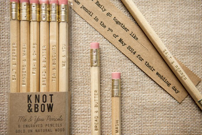 Me & You pencil set using traditionally British couplings, make wonderful save the dates