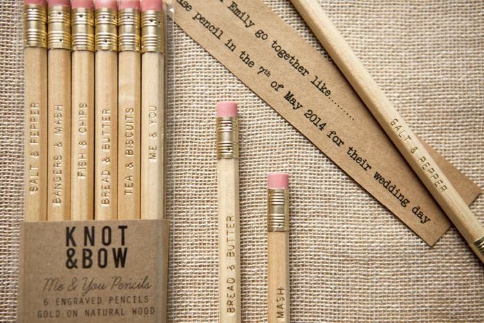 Me & You pencil set using traditionally British couplings, make wonderful save the dates