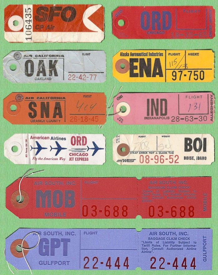 LIttle bits of romance: Vintage U.S Airline Baggage Tickets   Vintage Inspiration graphics