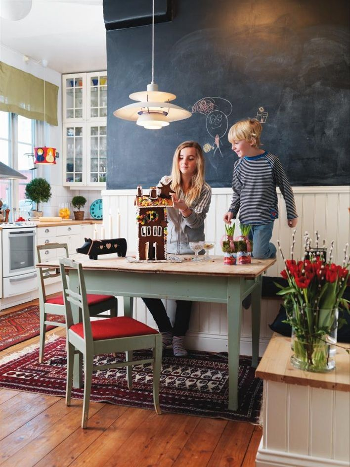 It's supposed to be about gingerbread houses, but this kitchen/nook is perfect. Love the bench with cushion.