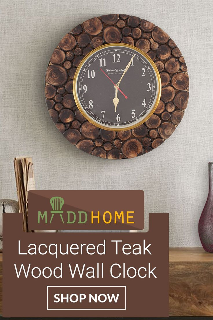 Elegant & eye-catching, this #antique Lacquered Teak #Wood Wall #Clock gives an elegant look to your living room: https://goo.gl/uAa8Bh