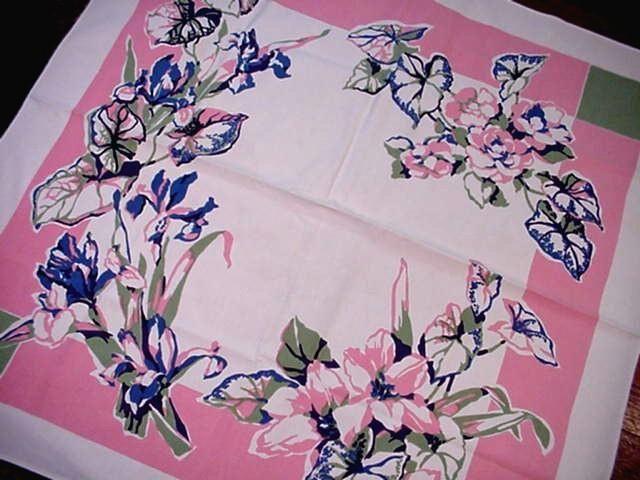 Vintage 50's BLUE IRIS Midcentury Tablecloth Modern MIAMI DECO Glamour FLORAL  | eBay