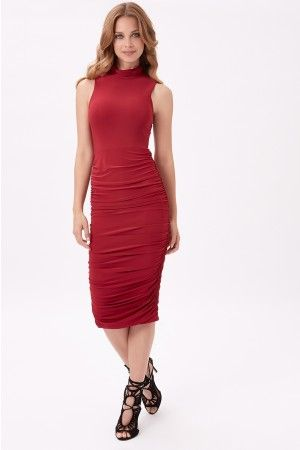 Red Ruched High Neck Midi Dress