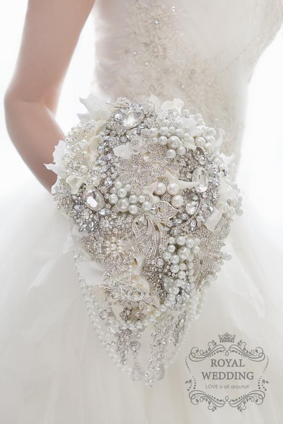 Cascading Elegant Brooch Bouquet White Pearl Bridal Wedding