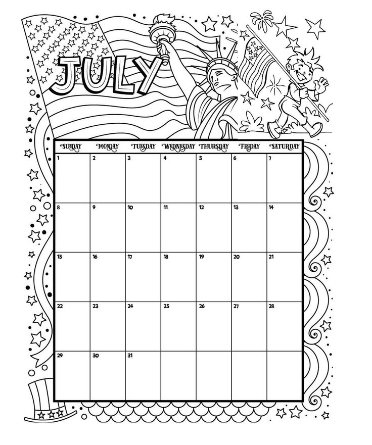 July Printable Coloring Calendar 2019 #july #calendar #calendar2019