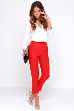 Chic Red Pants - High Waisted Pants - Red Trousers - $37.00