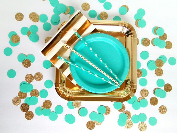 This listing is for Aqua Teal (Tiffany Blue) and Gold Glitter Circle Confetti.  These confetti pieces are made from premium acid free cardstock. The circle confetti pieces are 1 in diameter. The gold glitter circle pieces are one sided.  Use this confetti to decorate your party tables to compliment your centerpieces or add a little something extra to your cake table, gift table, or even your buffet line and/or food table and dessert bars. These confetti would be perfect for a birthday pa...