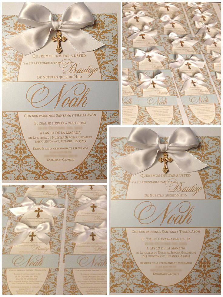 Baptism Invitations  #MadeByMe Cute Baby Boy Baptism Invitations with Bow Gold and baby blue damask