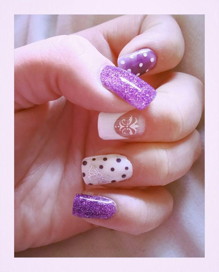Silver, purple and white polkadot bow nails