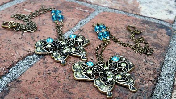 Brass Rhinestone Butterfly Pendant Chain Necklace // Jeweled