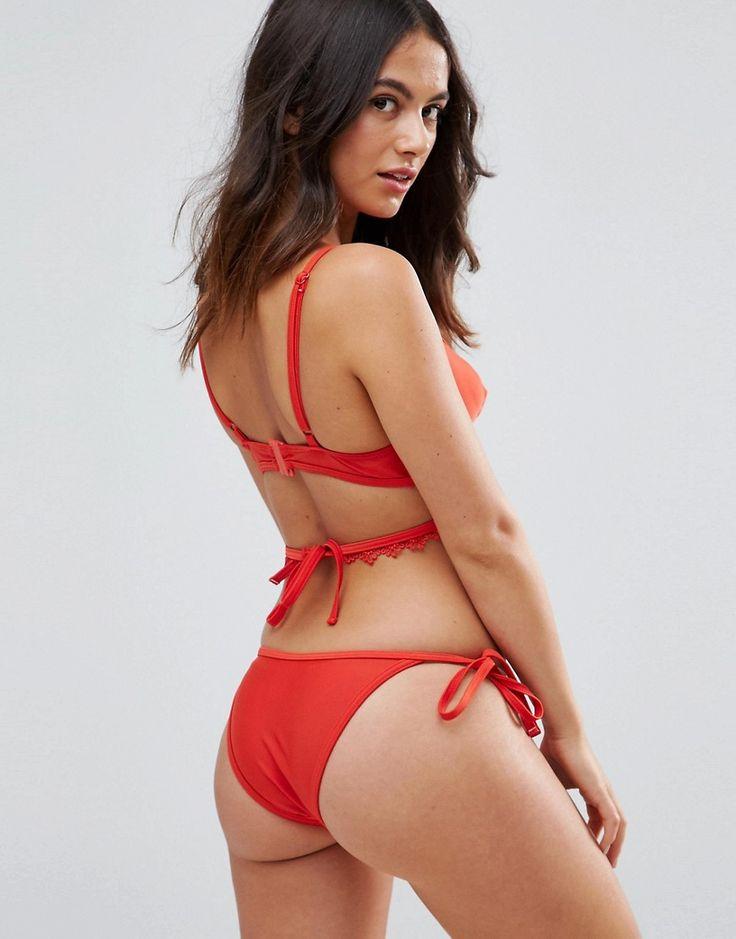 Playful Promises Crochet Trim Cut Out Tie-Side Bikini Bottoms - Red