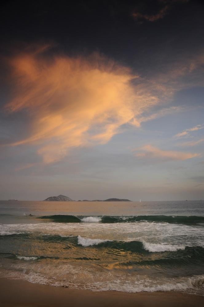 Ipanema Beach with nearing sunset, Rio de Janeiro, Brazil