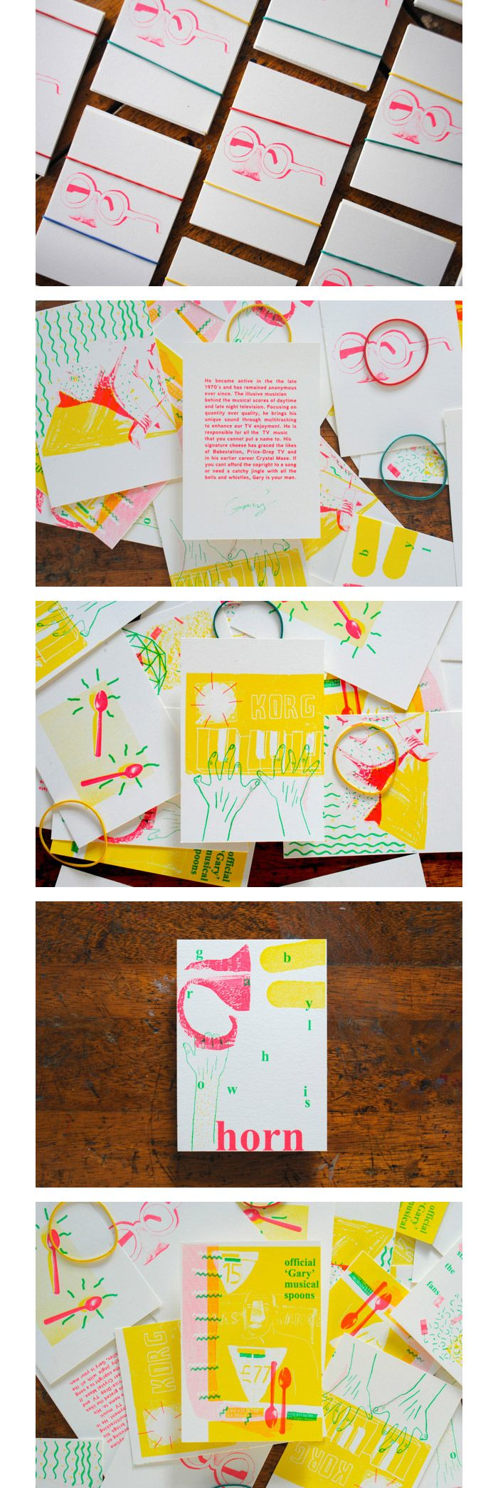 Oliver Elliott & Alex Penny / Illustration & silkscreened postcards - Gary the Musical Enigma