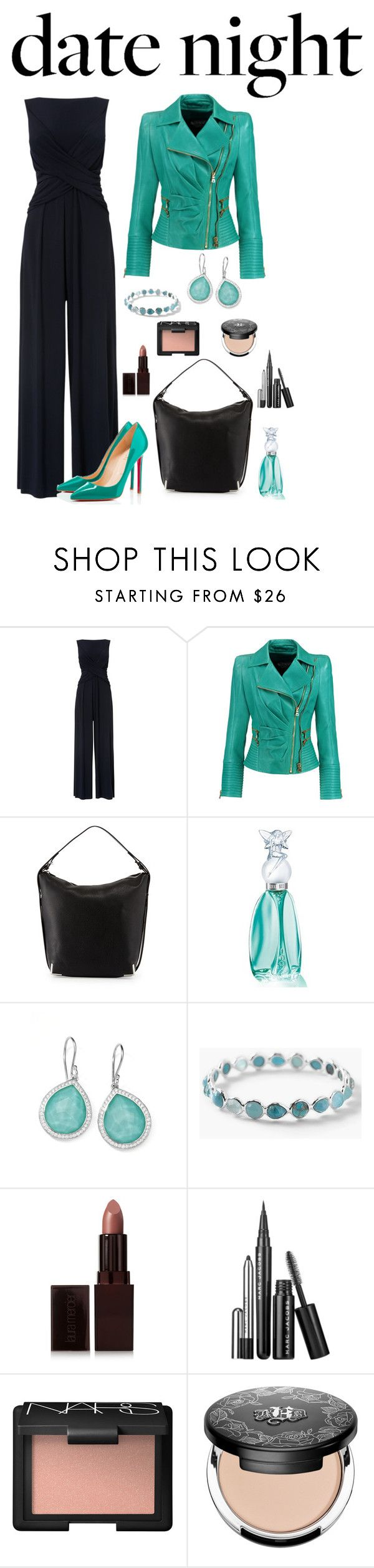 """""""Date Night - Turquoise"""" by sasane ❤ liked on Polyvore featuring Phase Eight, Balmain, Christian Louboutin, Alexander Wang, Anna Sui, Ippolita, Laura Mercier, Marc Jacobs, NARS Cosmetics and Kat Von D"""