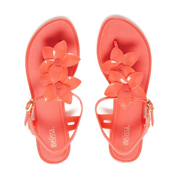 Melissa Women's Solar Hawai Sandals - Coral Pop ($82) ❤ liked on Polyvore featuring shoes, sandals, flip flops, pink, pink flip flops, metallic thong sandals, flat sandals, melissa shoes and slip-on shoes