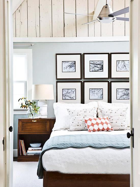 Use a wall of frames as a headboard