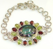 Great Vintage Rainbow Topaz Sterling Silver Bracelet