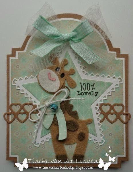 #mariannedesign #collectable COL1386 Giraffe #prettypapersbloc PB7047 Eline's Peach & Mint