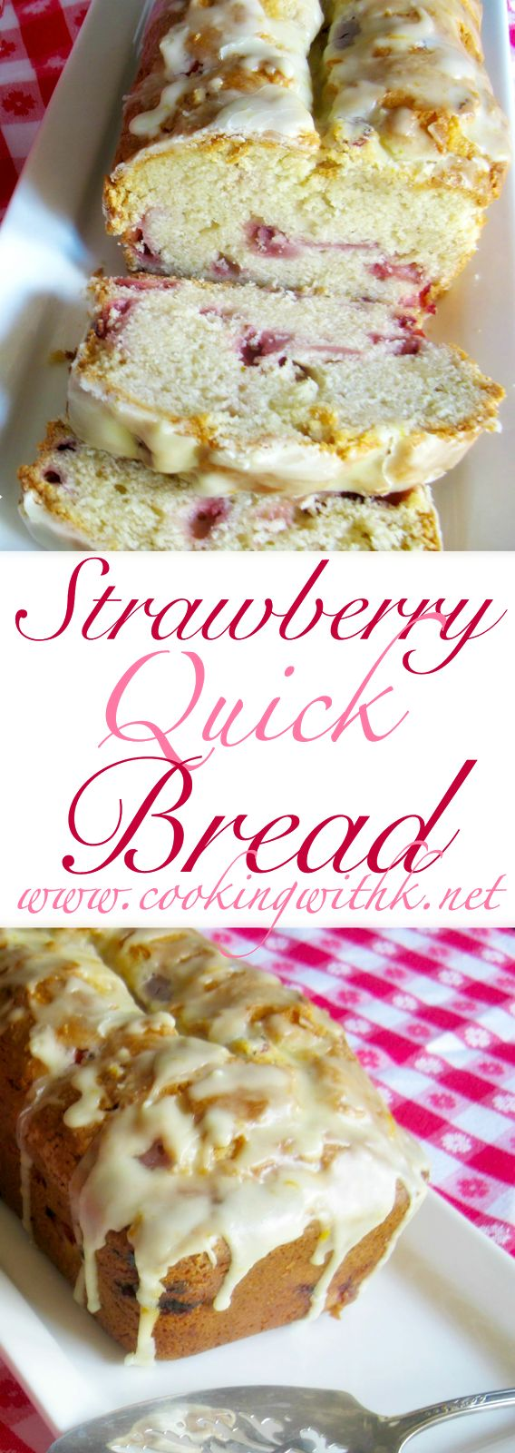 Strawberry Quick Bread will get you in the mood for Spring.  It is full of fresh strawberries and covered with a simple glaze.  We love this bread for breakfast, but who says you can't  have it for dessert with a dollop of whip cream and some Chunky Strawberry Sauce?