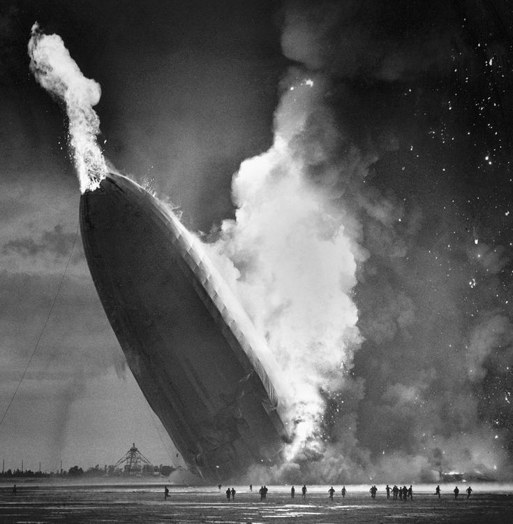 May 6, 1937 - As the lifting Hydrogen gas burned and escaped from the rear of the Hindenburg, the tail dropped to the ground, sending a burst of flame punching through the nose.