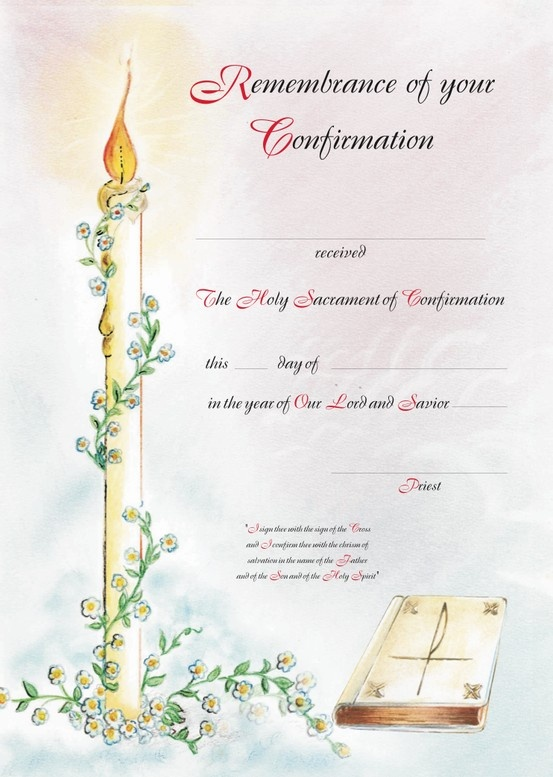 Confirmation Certificate. Designed by Zelda Francis. Water colour background was painted by one of the Sisters from the CPS convent.
