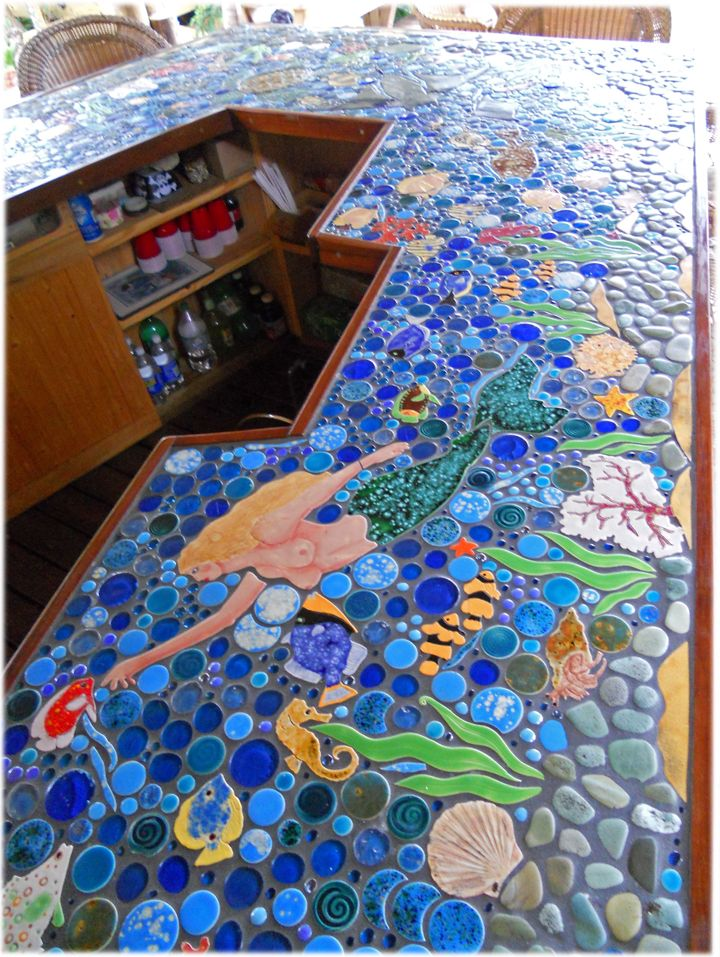 138 best images about mosaic underwater on pinterest for Mosaic tile bar top