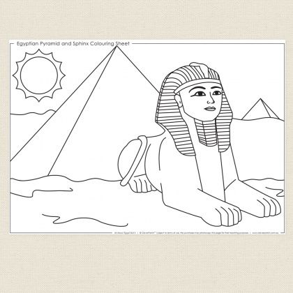childrens colouring in activity egyptian pyrimid and sphinx colouring sheet cleverpatch