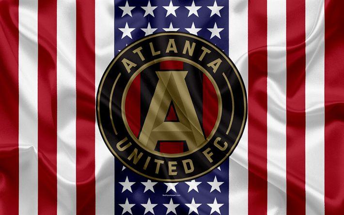 Download wallpapers Atlanta United FC, 4k, logo, silk texture, American flag, emblem, football club, MLS, Atlanta, Georgia, USA, Major League Soccer, Eastern conference